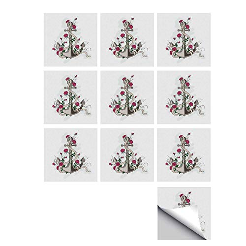 C COABALLA Rose Stylish Ceramic Tile Stickers 10 Pieces,Hand Drawn Illustration of Sea Anchor Entwined with Flowers and Marine Rope Decorative for Kitchen Living Room,5
