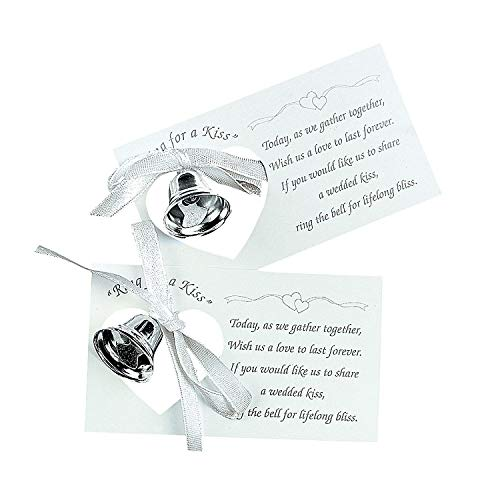 Fun Express – Silver Wedding Bell Token Cards (50pc) for Wedding – Party Supplies – Favors – Placecards And Holders – Wedding – 50 Pieces