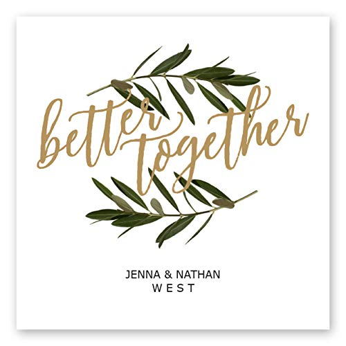 Better Together Personalized Beverage Napkin - 100 Custom Printed White Uncoined Napkins. 4 3/4'' x 4 3/4'' folded. Made in the USA]()
