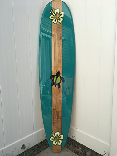 Surfboard wall art. Beach wall décor. Five foot surfboard wall hanging. Turquoise with turtle. by Flyone Boardshop