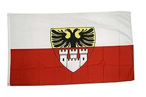 FahnenMax–Bandera de Alemania Ciudad Duisburg + Gratis Pegatinas, Flaggenfritze–Bandera, Hissflagge 90 x 150 cm