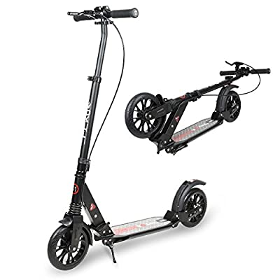 Vokul LUX Big Wheel Fold Kick Scooter - 205mm Wheel, 14-Inch x 4.5-Inch Deck, ,Adjustable Bar,Reinforced Deck from Vokul