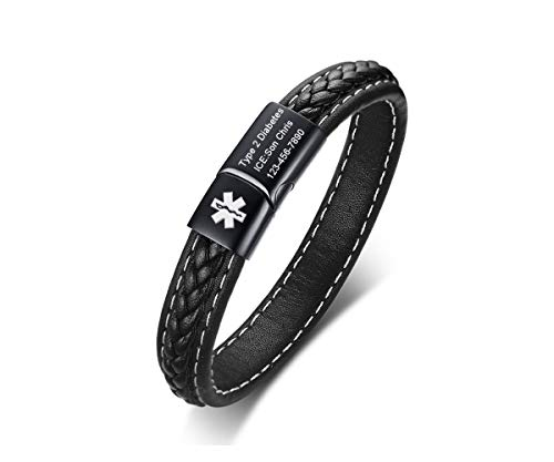 - VNOX Medical Alert Emergency Jewelry-Customize Braided Genuine Leather Cuff Bangle Bracelet for Men Women