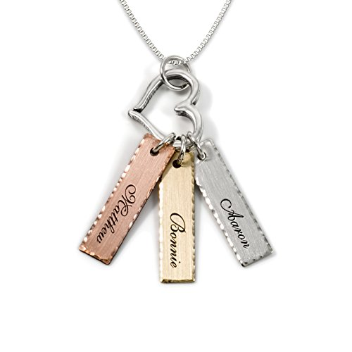 14k Mom Heart (Mixed Tone Triple Bar Sterling Silver Personalized Necklace with Heart Charm. 14k Gold Plated, Rose Gold Plated, and Sterling Silver charm. Choice of Sterling Silver Chain. Gifts for Her, Mom, Wife)