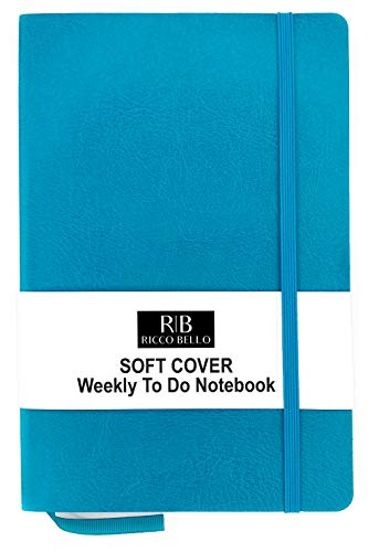 RICCO BELLO A5 Soft Cover Weekly to do Calendar Checklist Notebook, 120gsm Thick Paper (Turquoise)