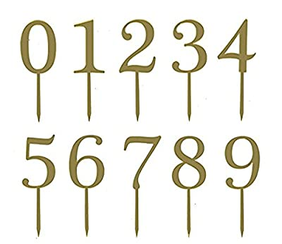 Gold Acrylic Number Cake Toppers Table Numbers for Wedding Anniversary or Birthday Party Decorations