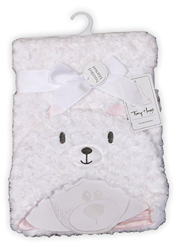 Embroidered Name Plush Animal Blanket for Little Boys and Girls - Bear Elephant Kitty Cat (No Embroidery (Blank) Polar Bear)