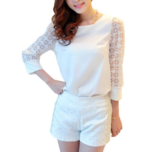 LOCOMO White Rhombus Checker See Through Cropped Sleeve Blouse Pant Set FFD080XL ()