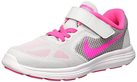 Nike Kids Revolution 3 Little Kid Pure Platinum/Pink Blast/Wolf Grey/White Girls (Fucsia Tessuto Calzature)