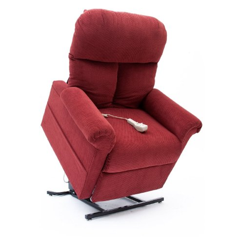 Mega Motion Lift Chair Easy Comfort Recliner LC-100 Infinite Position Rising Electric Power Chaise Lounger - Brandy Red Color Fabric + Inside the Home Delivery, Setup and Box Removal