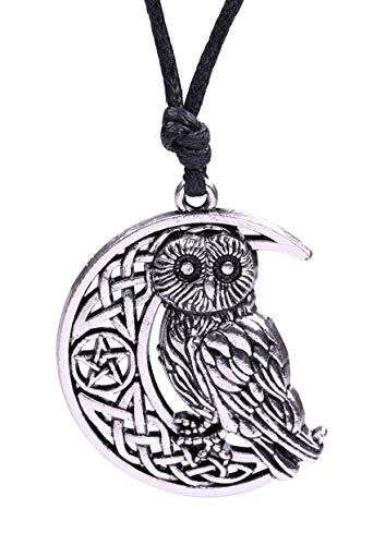 - cooltime Pentacle Half Moon Owl Pendant Necklace Ancient Greek Jewelry for Women Girls (Silver)