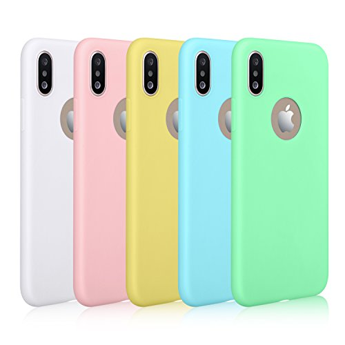 Pofesun Silicone iPhone Xs Case/iPhone X Case, [5 Pack] Ultra Thin Slim Fit Soft Flexible Gel Rubber Cover Compatible with iPhone X/iPhone Xs 5.8 inch 2018 - White, Blue, Mint, Pink, Yellow
