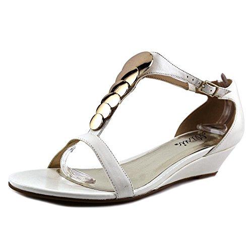 Bellini Women's 1'' Felicity Sandals, White Leather, 8.5 W