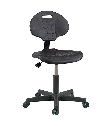 Bevco 7000CR-3850S/5 Series 7000 Polyurethane Black Class 10 Ergonomic Industrial Low Height Seating Chair with Plastic Base and Casters, Standard