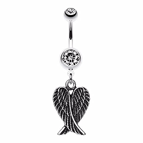 Angel Wing Heart 316L Surgical Steel Belly Button Ring (Clear)