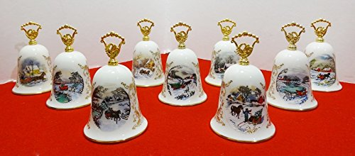 Vintage Gorham Fine China Currier & Ives Christmas Bell Series