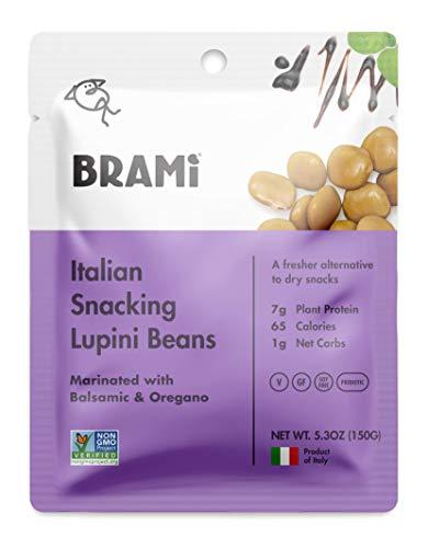 - BRAMI Lupini Beans Snack, Balsamic & Oregano | 7g Plant Protein, 1g Net Carbs | Vegan, Vegetarian, Keto, Mediterranean Diet | 5.3 oz (8 Pack)