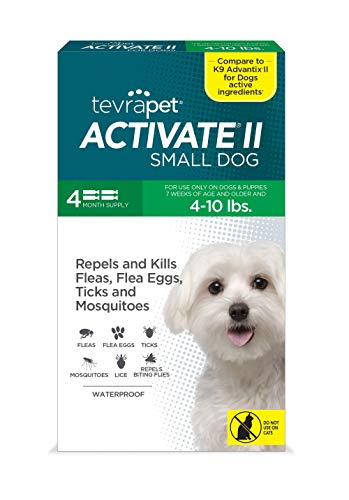 TevraPet Activate II Flea and Tick Prevention for Dogs | 4 Months Supply | Small Dogs 4-10 lbs | Medicine for Treatment and Control | Topical Drops
