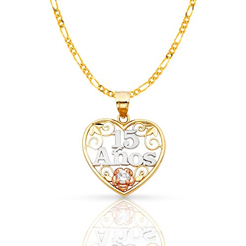 Ioka Jewelry - 14K Tri Color Gold Sweet 15 Years Quinceanera Heart Charm Pendant with 2.3mm Figaro 3+1 Chain Necklace - 22