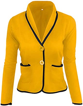 Amazon.com: Blazer casual para mujer, manga larga, bolsillos ...