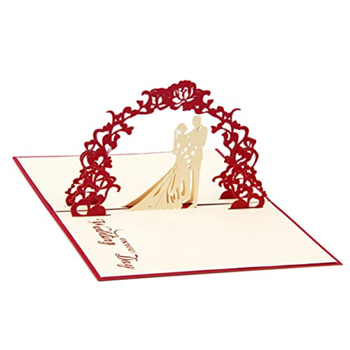 Toyvian Invitations Cards Kits 3D Pop Up Heart Laser Cut Wedding Gift Greeting Card with Envelope (Red)