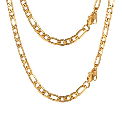 PROSTEEL Miami Figaro Link Necklace 18K Gold Plated Stainless Steel Long Chain Necklace 30