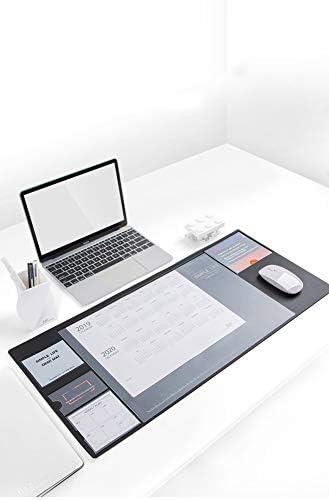 Multifunktionale transparente Schreibtischunterlage Mauspad Tischunterlage Organizer mit Kalender, Planerkarten, Taschen, Haftnotizen für Zuhause/Büro 70.5x32cm Schwarz