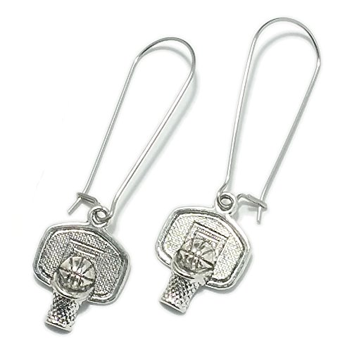 Sabai NYC Basketball Charm Earrings on Kidney Ear Wires (Basketball Hoop & Backboard)