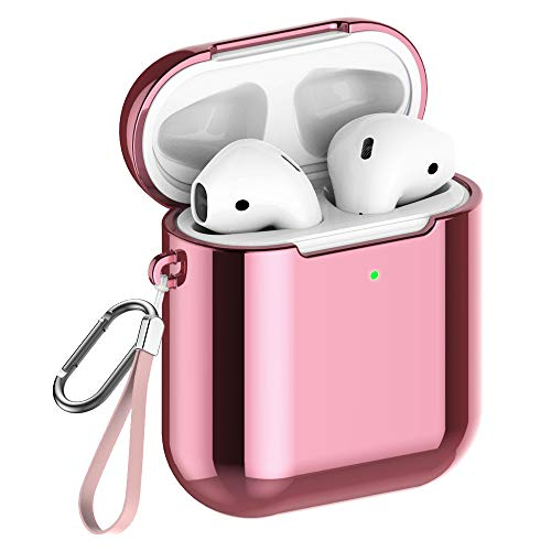REFLYING Case Compatible for AirPods [1st and 2nd Gen], Soft TPU Plated Case Shockproof Protective Cover Compatible with Apple AirPods & AirPods 2019 - Pink