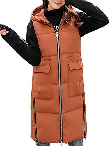 Besbomig Caldo L Zipper Gilet Inverno 2xl Cotone Cappuccio Taglia Slim Lungo Jacket Autunno Womens Di Coffee Xl Casual Outwear Fit Con 3xl tT8qxrtw