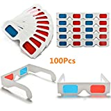 MeterMall Electronics for 50/100 Pcs Universal Paper Anaglyph 3D Glasses Paper 3D Glasses View Anaglyph Red/Blue 3D Glass for Movie Video 50pcs