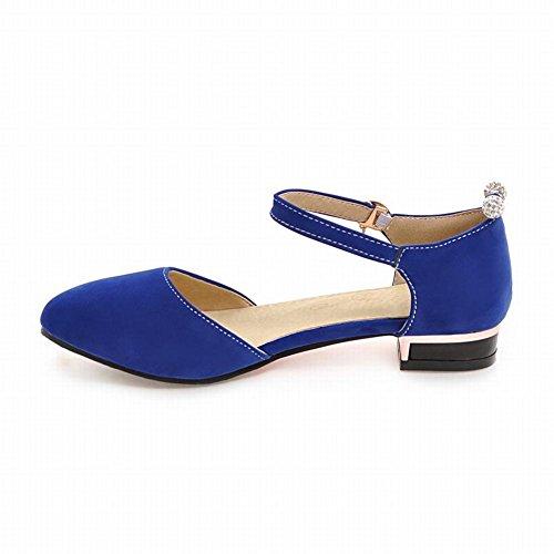 Carolbar Hebilla Para Mujer Con Cuentas Pedrería Sandalias De Tacón Bajo Azul