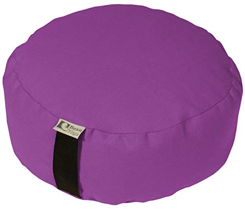 Round Orchid - Bean Products Orchid - Round Zafu Meditation Cushion - Yoga - 10oz Cotton - Organic Buckwheat Fill - Made in USA