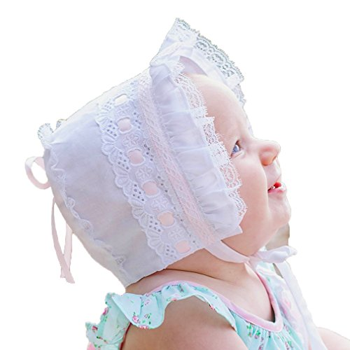 - Huggalugs Baby Girls Pink Ribbon and Lace Bonnet 0-3m
