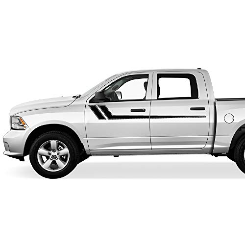 Side Stripe Kit - Bubbles Designs Decal Graphic Vinyl Upper Door Racing Stripe Kit Compatible with Ford F150 Series 2009-2017 (Black)