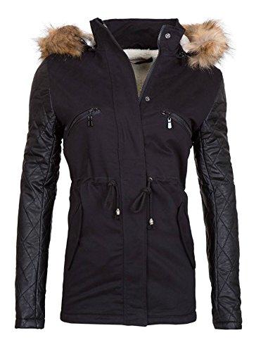Designer Winterjacke Warme Jacke Parka mit Kunstlederärmeln in Khaki, Schwarz und Beige 34 36 38 40 42