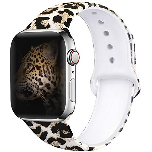 4 Leopard - OriBear Compatible with Apple Watch Band 44mm 42mm Elegant Floral Bands for Women Soft Silicone Solid Pattern Printed Replacement Strap Band for IwatchSeries 4/3/2/1 M/L Sexy Leopard