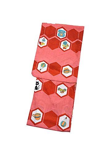 アナウンサーメトリック子羊[KIMONOMACHI] 女性 浴衣 赤×コーラルピンク レトロイラスト TLサイズ お仕立て上がり 女性浴衣 レディース ポリエステル