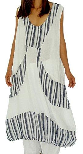 Mein Design Lagenlook de Mallorca Damen Kleid HL500 Tunika Leinen Weiß