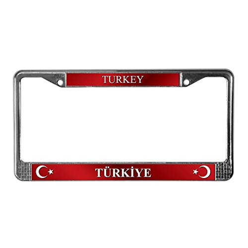 (CafePress Turkish Flag License Plate Frame Chrome License Plate Frame, License Tag Holder)