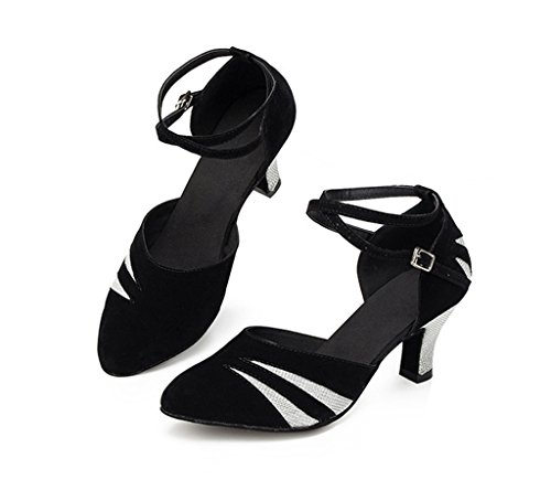 Meijili Womens Suede Pumps Salsa Tango Ballrom Latin Dance Black/Silver jm7IazHI