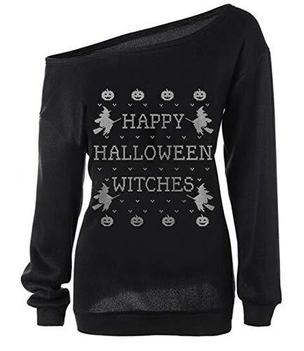 Loose Women Halloween (lymanchi Women Halloween Long Sleeve Sweatshirt Off Shoulder Loose Pullover Tops A Black)