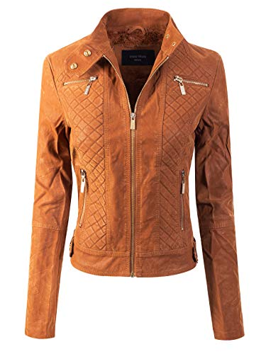 Design by Olivia Women's Elegant Faux Suede Zip Up Moto Biker Jacket Camel S