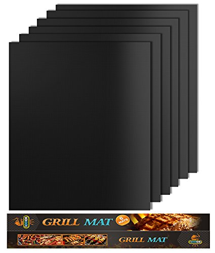 Looch Grill Mat Set of 6- 100% Non-stick BBQ Grill & Baking Mats - FDA-Approved, PFOA Free, Reusable and Easy to Clean - Works on Gas, Charcoal, Electric Grill and More - 15.75 x 13 (Round Wood Canopy)