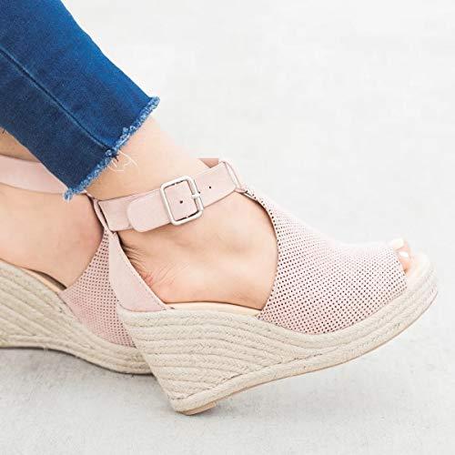 Zapatos Pulsera Tacones Sandalias Cuña Abierta Mujer Para Con Rosa De Correa Punta Tobillo CqqawOx5z