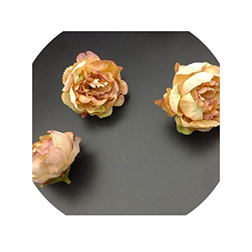 Sweet-Candy artifical flowers 5 pcs Artificial Rose Flower Heads for Flower Walls Wedding Home Decorations DIY Christmas Wreath Crafts Silk Peony Flower Heads,Ginger ()