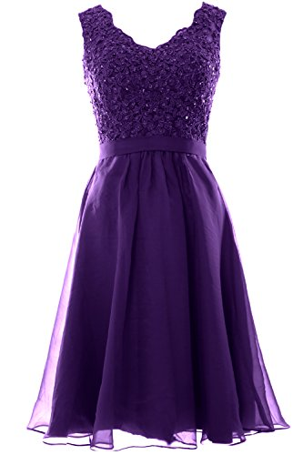 Gown Short Lace Neck Prom Chiffon V Women Party Wedding Dresses MACloth Violett Vintage IUxPanY