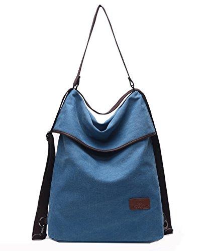 Travistar Femmes Sac à Dos Vintage Sac à Main - Multifunctional Femme Toile Sac Sac D'épaule pour Voyage Shopping Bleu