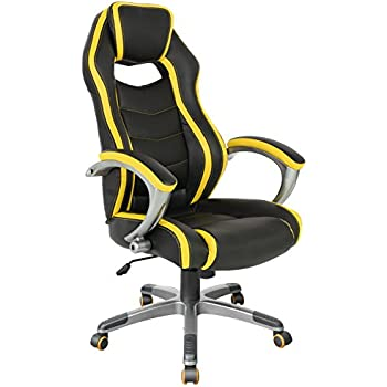 Gaming Computer Racing Style Office Chair for Executive/Gamers/Adults/Teenager (05176A), Ergonomic High Back Comfortable Swivel Chair with Durable Armrests. Yellow/Black. ProHT