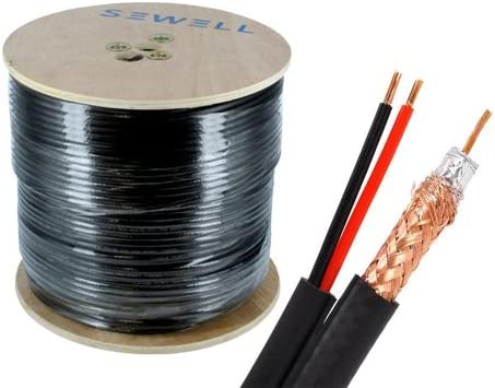Braid and Foil Shield 18 AWG 500 Feet Spool Black Sewell Direct SW-22855 Bulk RG59 Power Siamese Cable